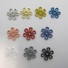 30 Estampe Fleurs Teinté 15mm