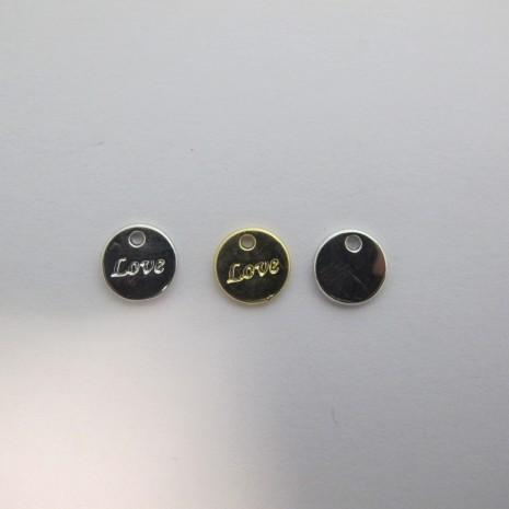 30 Breloques ronde love Métal 9mm