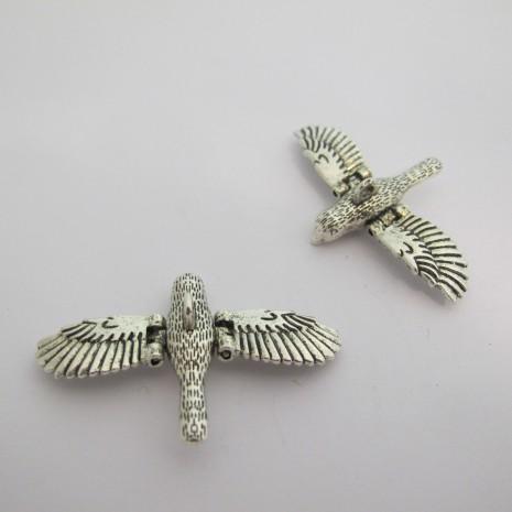 5 Pendentif oiseau Métal 33x52mm