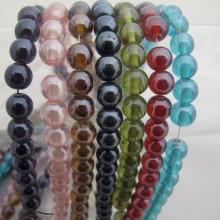 Perles en verre 6MM/8MM-Fil de 70cm +-95PCS