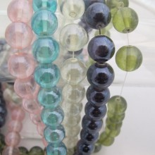 Glass beads 14MM-Wire 70cm +-56PCS