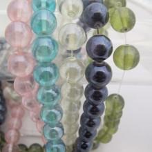 Perles en verre 14MM-Fil de 70 Centimetres+-56PCS