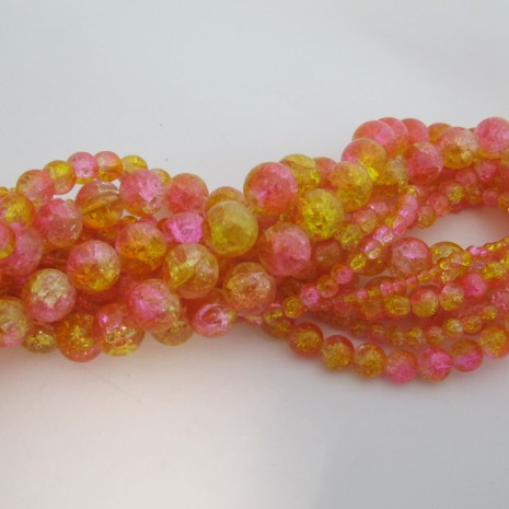 perles en verre craquelé mix rose jaune
