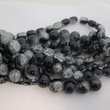 Perles En Verre Craquelé mix blanc noire