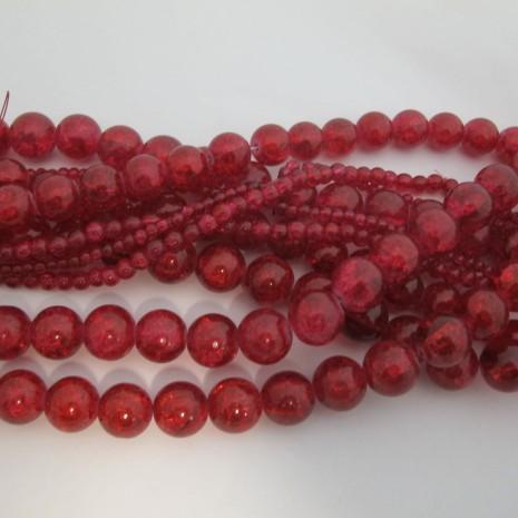 perles en verre craquelé fuchsia