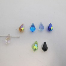 50 Glass faceted drop 15x8mm color ab