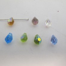50 Glass faceted drop 9x6mm color ab