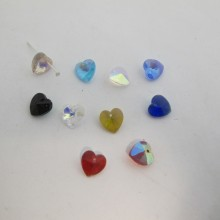 25 Glass heart 4mm color ab