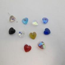 25 coeur en verre 4mm couleur ab