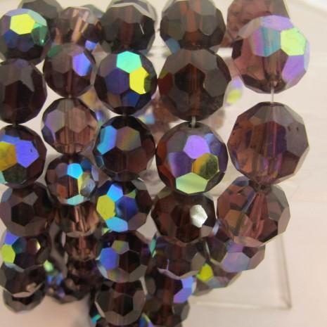 facette rond en verre  couleur amethyste ab