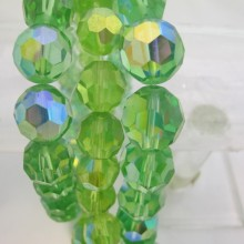 Round facet glass color green ab