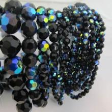 Round glass facet color black ab