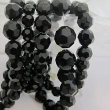 Round glass facet, black color