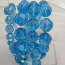 Round facet glass color turquoise blue ab