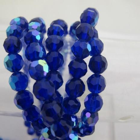 facette rond en verre couleur bleu foncé ab 8mm