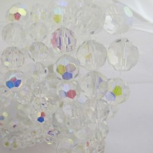 Round facet in crystal colored glass ab