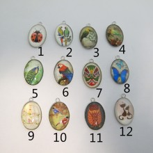 10 Pendentif Cabochon ovale 29x19mm