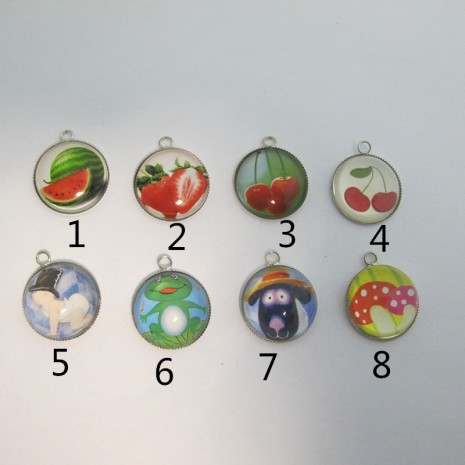 10 Pendentif Cabochon rond 25x21mm