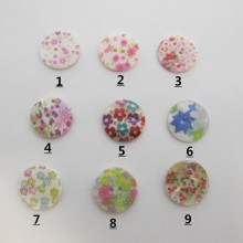 25 Bouton rond fleur En Nacre 18mm