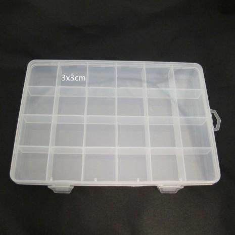 Boite de rangement plastique -24cases 19x13x2cm