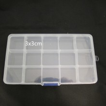 Plastic storage box -15 spaces 17x9x2cm