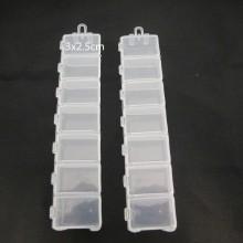2 Plastic storage box -7 spaces 15x3x2cm