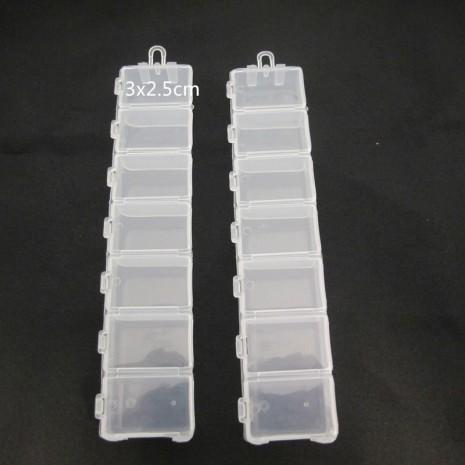 2 Boite de rangement plastique -7cases 15x3x2cm