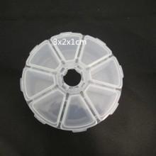 Round plastic storage box-8 spaces 11x11x2.7cm