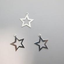 50 Pendentif  étoile 25x22mm