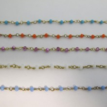1 mts Chain with faceted glass beads 4mm