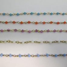 1 mts Chaîne avec perles facettées en verre 4mm