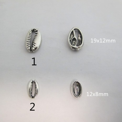 50 Intercalaires demi coquillage 12x8mm/19x12mm