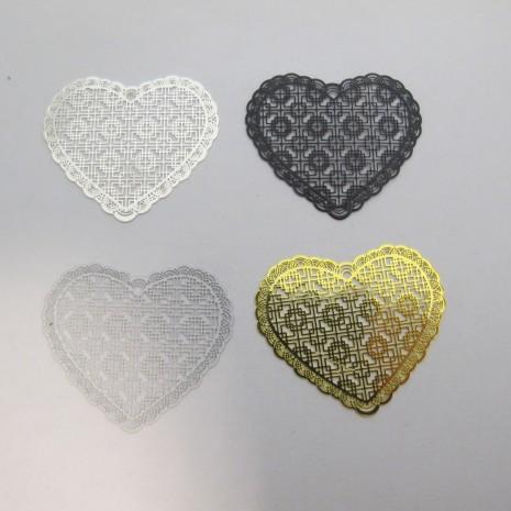 20 Estampe coeur laser cut 45x38mm