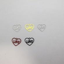 100 Stamp heart love laser cut 11x10mm