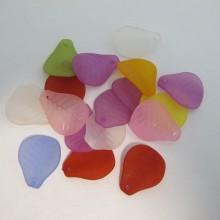 125 gm perles feuilles en plastique 24x19mm