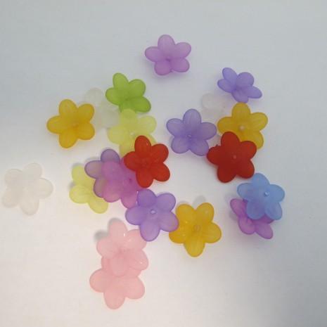 125 gm perles fleur en plastique 20x6mm
