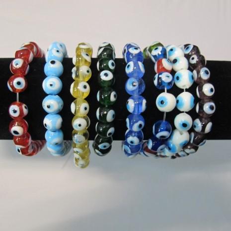 eye perles de verre 10 mm - Fil de 35 Centimetres