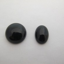 10 Cabochons agate noire 20mm/13x18mm