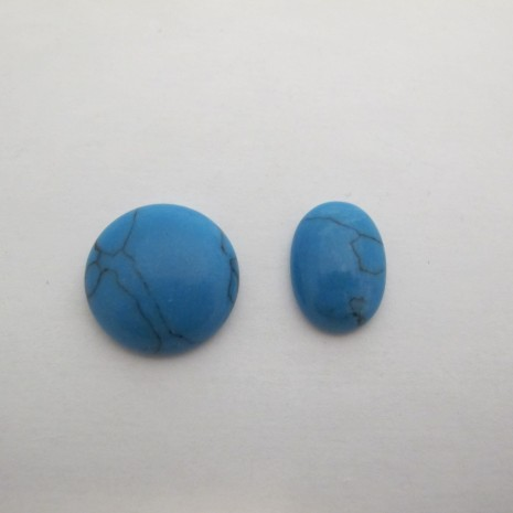 10 Cabochons turquoise 20mm/13x18mm