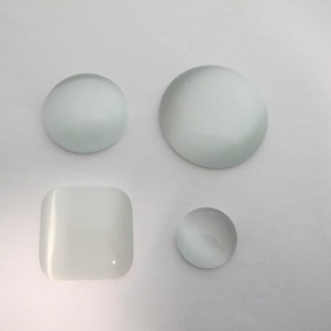 Cabochons œil de chat en verre blanc