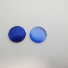 30 Blue glass cat's eye cabochons