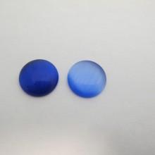 30 Cabochons œil de chat en verre bleu