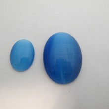 Blue turquoise glass cat's eye cabochons