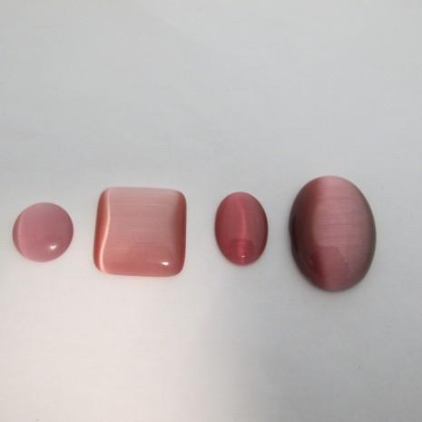 Cabochons œil de chat en verre rose