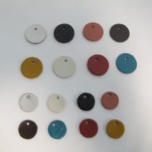 5 Pendantif rond en cuir 15mm et 20mm