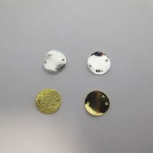 50 Spacers 2 holes rounded glitter 12mm