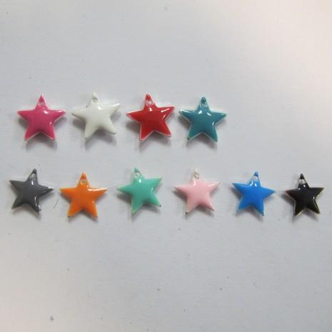 20 Sequins étoile émaillés 12mm double face