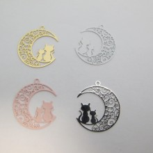 40 Estampe lune et chat Laser Cut 24x21mm