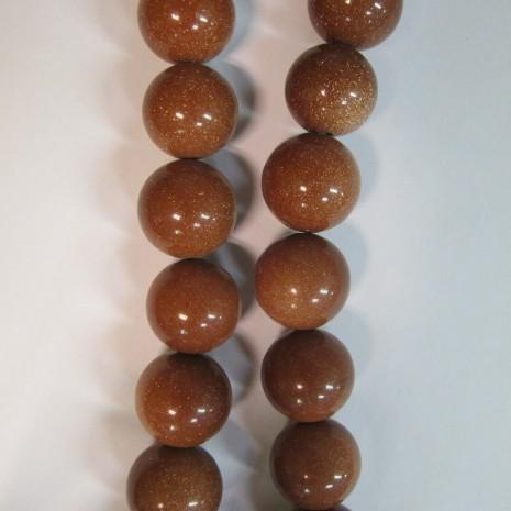 gold stone ronde- Fil de 40 Centimetres