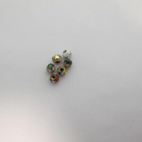 100 perles Cloissonée rond 6mm